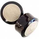 Black Horn Plugs with Mexican Coin Inlays <span class=