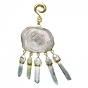 Brass with Chalcedony and Aquamarine Dangles