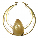 Brass Hoops with White Agate Teardrop Inlay