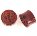 Rainbow Jasper Plugs with Carved Inlays <span class=