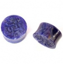 Sodalite Plugs with Carved Inlays <span class=