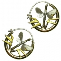 Silver and Bronze Butterfly Hoops