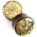 Ebony with Gold and Shell Victorian Plugs