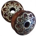 Sabo Wood Plugs with Silver Flower Inlays