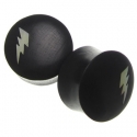 Ebony Plugs with Mother of Pearl Lightning Bolt Inlays