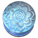 Glass Dichro Blue Borneo Flower Plugs