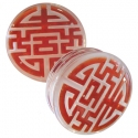 Glass Chinese Swastika Plugs