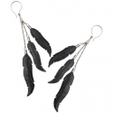 Silver and Black Horn 3 Feather Earrings
