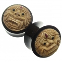 Black Horn Plugs with Walrus Jawbone Barong Inlays