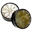 Black Horn Plugs with Mother of Pearl Lotus Inlays