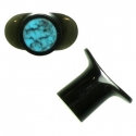 Black Horn Labret Plugs with Turquoise Inlay