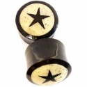Black Horn Plugs with Walrus Jawbone Star Inlays
