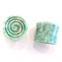 China Green Jade with Carved Concave Spiral Inlays <span class=