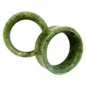 Green Nephrite Jade Concave Eyelets