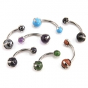 Titanium Prong Set Natural Stone Navel Curve