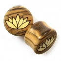 Olivewood Plugs with Ash Lotus Inlays