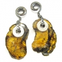 Oxidized Silver and Amber Weights
