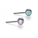 Threadless Titanium Faceted Side-Gem Ends