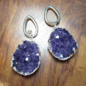 Silver Teardrop Coils with Amethyst Geodes
