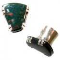 Silver Plugs with Indian Bloodstone Inlays