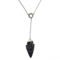 Silver and Horn Arrowhead Toggle Necklace