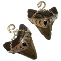 Silver Megalodon Teeth with Obsidian Teardrop
