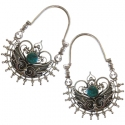 Silver and Turquoise Ornate Hoops