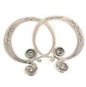 Silver Pounded Lao Hoops