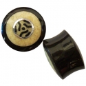 Black Horn Plugs with Walrus Jawbone and Silver Inlays 5