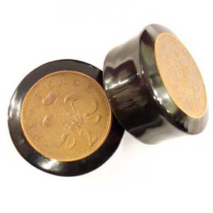 Black Horn Plugs with 2 Pence Coin Inlays