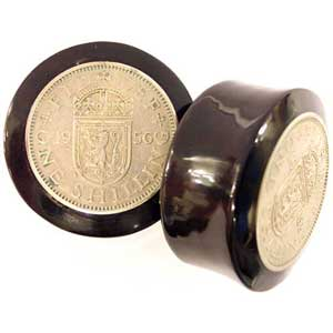 Black Horn Plugs with Shilling Coin Inlays