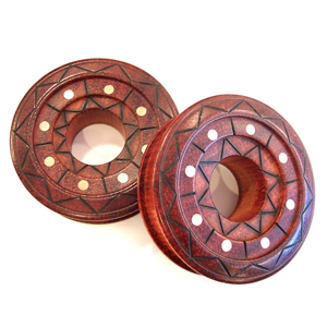 Bloodwood Triple Tiered Spools with Brass Inlays