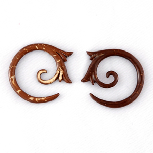 Coconut Shell Floral Spiral Hoop