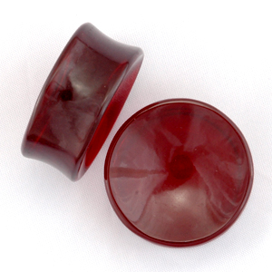 Concave Red Obsidian Plugs