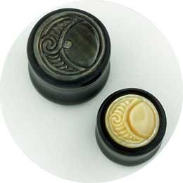 Black Horn Plugs with Spiral Moon Mother of Pearl Inlays
