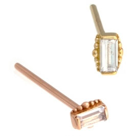 Gold Baguette with Beads Nostril Screw