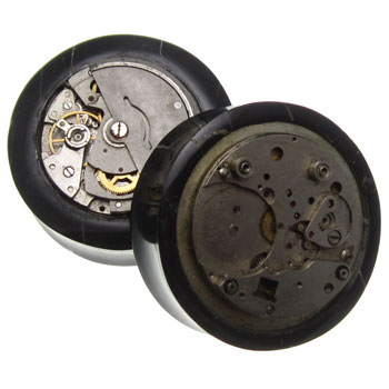 Black Agate Plugs with Mechanical Watch Inlays