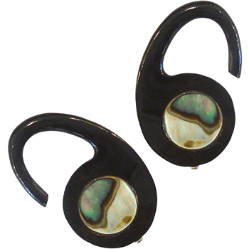 Black Horn Hooks with Abalone Inlays