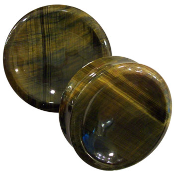 Blue/Yellow Tiger Eye Concave Plugs
