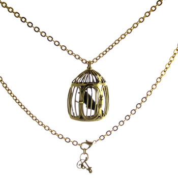 Brass Bird Cage Necklace