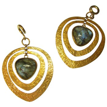 Brass Distressed Movement Coils with Labradorite