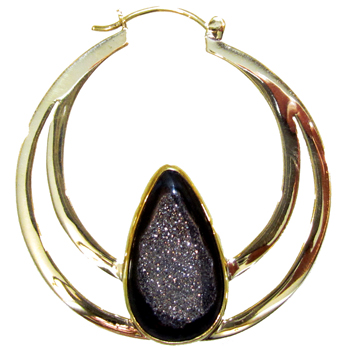 Brass Hoops with Druzy Teardrop Chalcedony Inlay