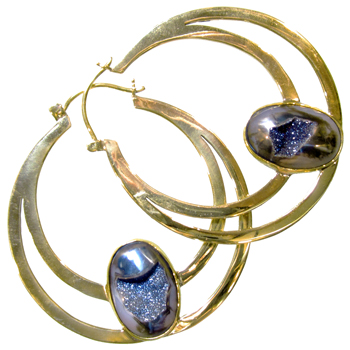 Brass Hoops with Druzy Chalcedony Inlay
