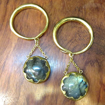 Brass Hoops with Labradorite Orbs