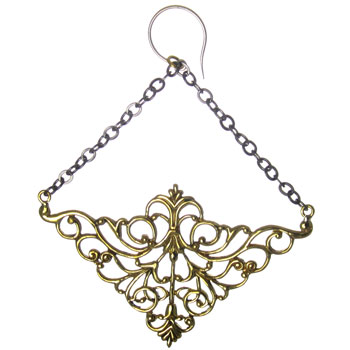 Brass Nouveau Chain Earrings