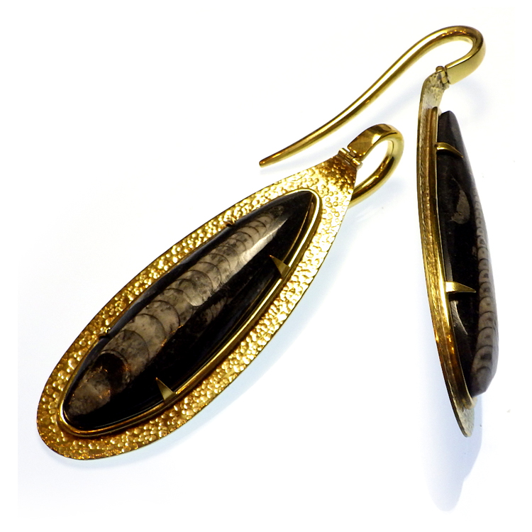 Brass and Orthoceras Fossil Hooks