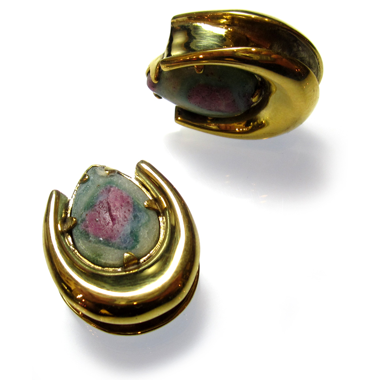 Brass Saddle Spreaders with Ruby in Fuchsite