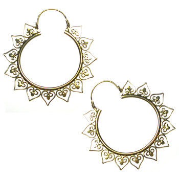 Brass Sunflower Hoops