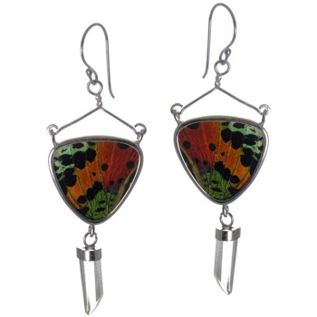 Butterfly Wing Silver Earrings #10