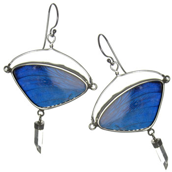 Butterfly Wing Silver Earrings #2